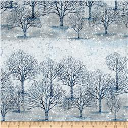 Kaufman Sounds of the Woods Metallic Tree Stripe Snow
