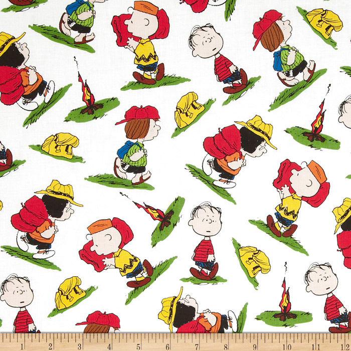 Camp Peanuts Character Toss White Fabric