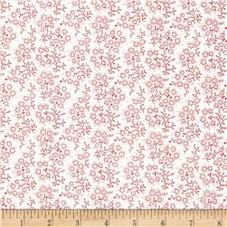 Mini Floral White/Red Fabric