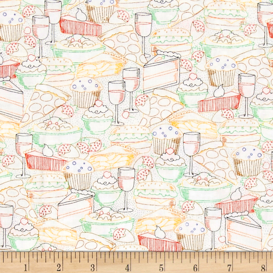Healthy Eats Healthy Eats Line Drawing White Fabric 0444968