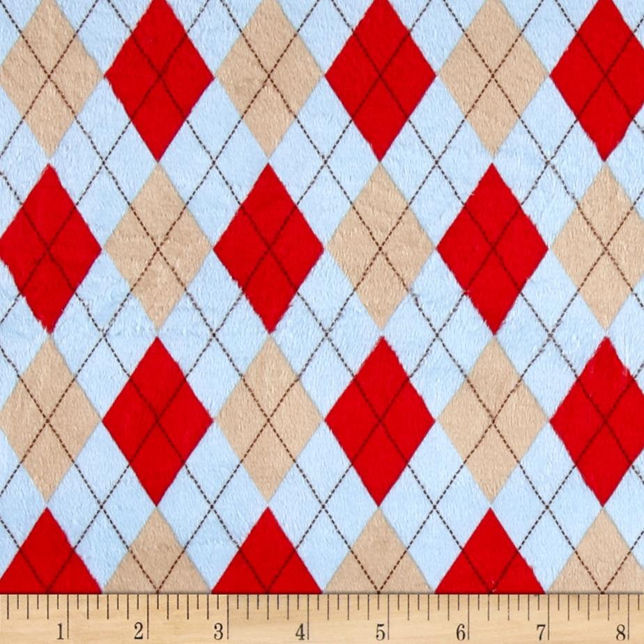 Minky Monkey Argyle Powder Blue
