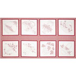 Lazy Daisy Baskets Block Panel Red