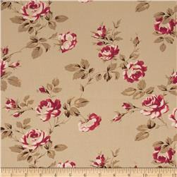 Tanya Whelan Petal Home Decor Sateen Scattered Roses Parchmnt