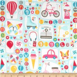 Riley Blake Girl Crazy Flannel Main Blue Fabric