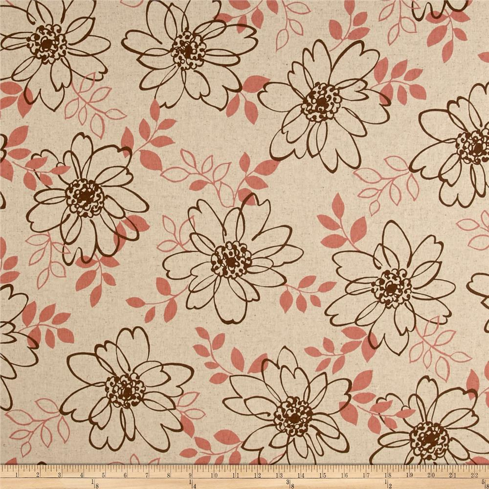 Kaufman Sevenberry Canvas Cotton Flax Prints Flowers Brown Fabric By The Yard