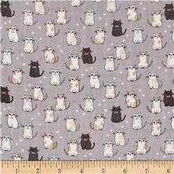 Double Gauze Little Kitties Gray