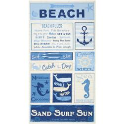 Timeless Treasures Beach Rules 24 In. Panel Cream