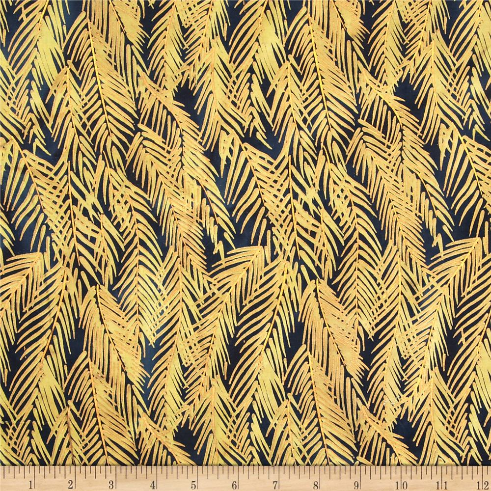 Indian Batik Fir Sprigs Metallic Navy/Gold