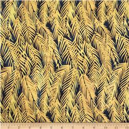 Indian Batik Fir Sprigs Metallic Navy/Gold Fabric