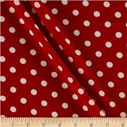 Crepe Polka Dot Red/Ivory