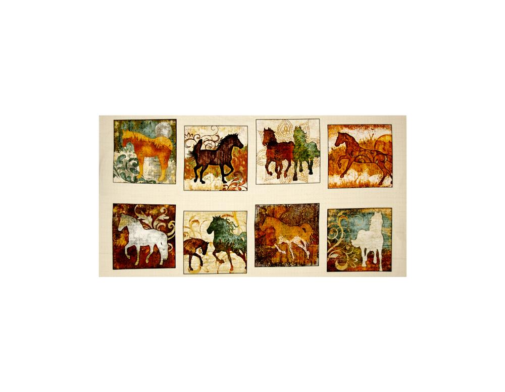 Unbridled Horse Picture Patches 24'' Panel Cream Fabric By The Yard