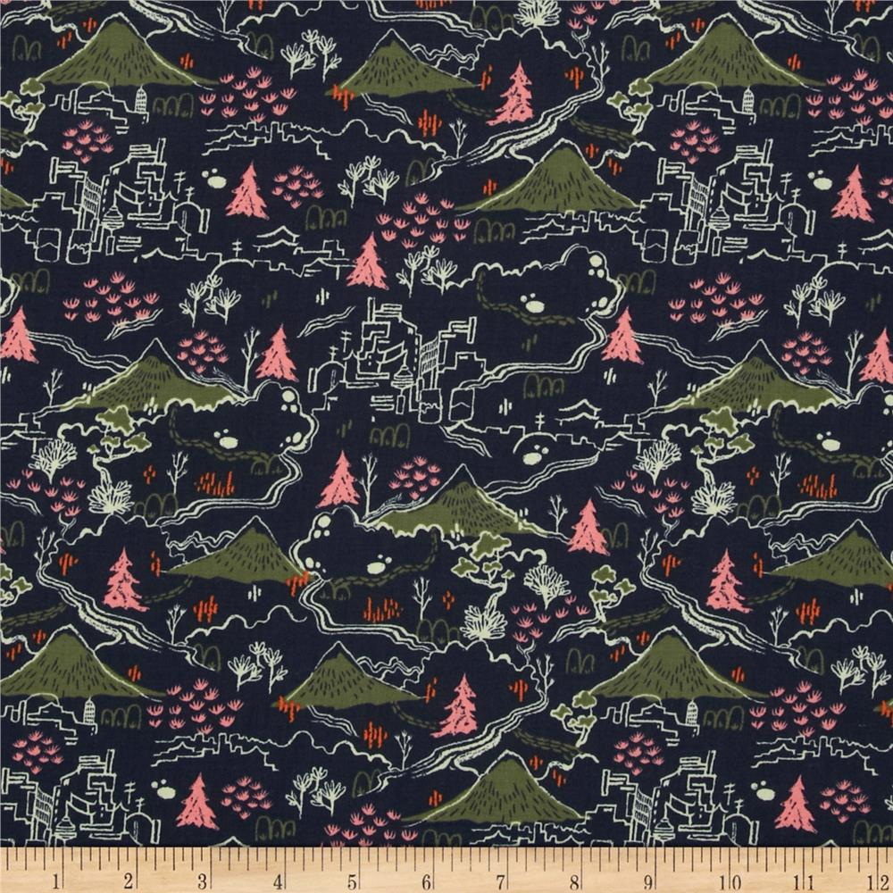 Cotton steel tokyo train ride countryside navy for Train print fabric