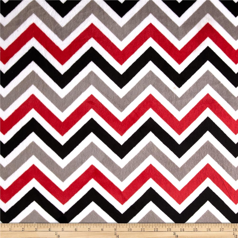 Minky Cuddle Zig Zag Red/Black/Snow