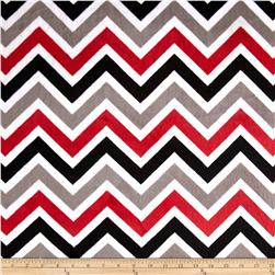 Minky Cuddle Zig Zag Red/Black/Snow Fabric