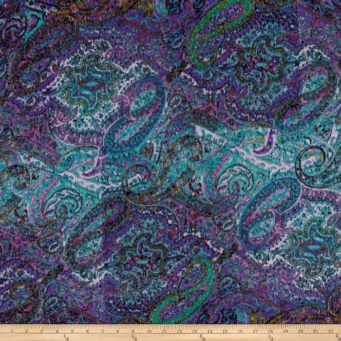 Jersey Knit Paisley Blue Purple