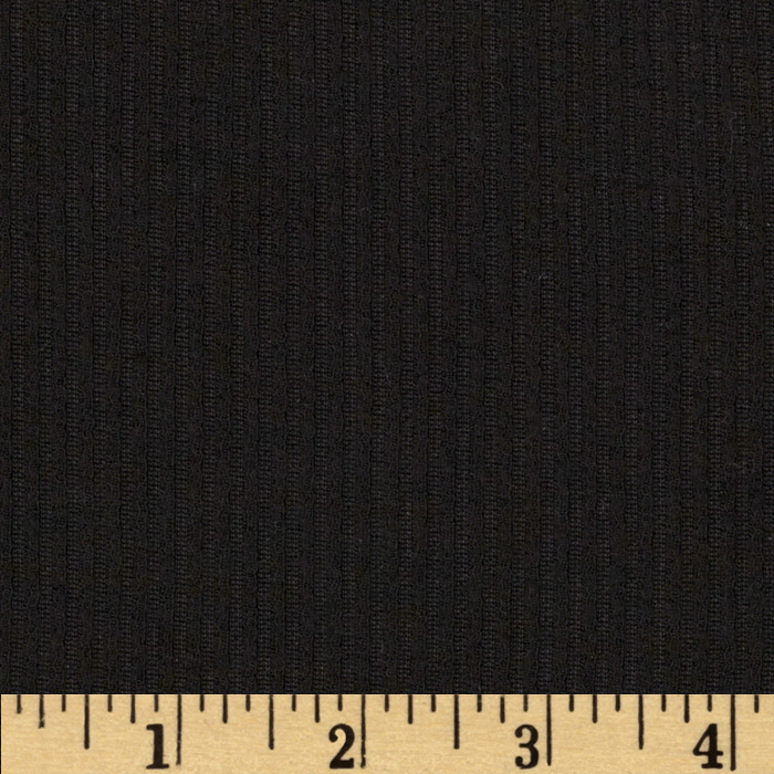 Brushed Ribbed Double Knit Black Fabric