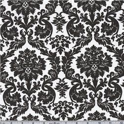 Flannel Backed Vinyl Acanthus Black & White Fabric