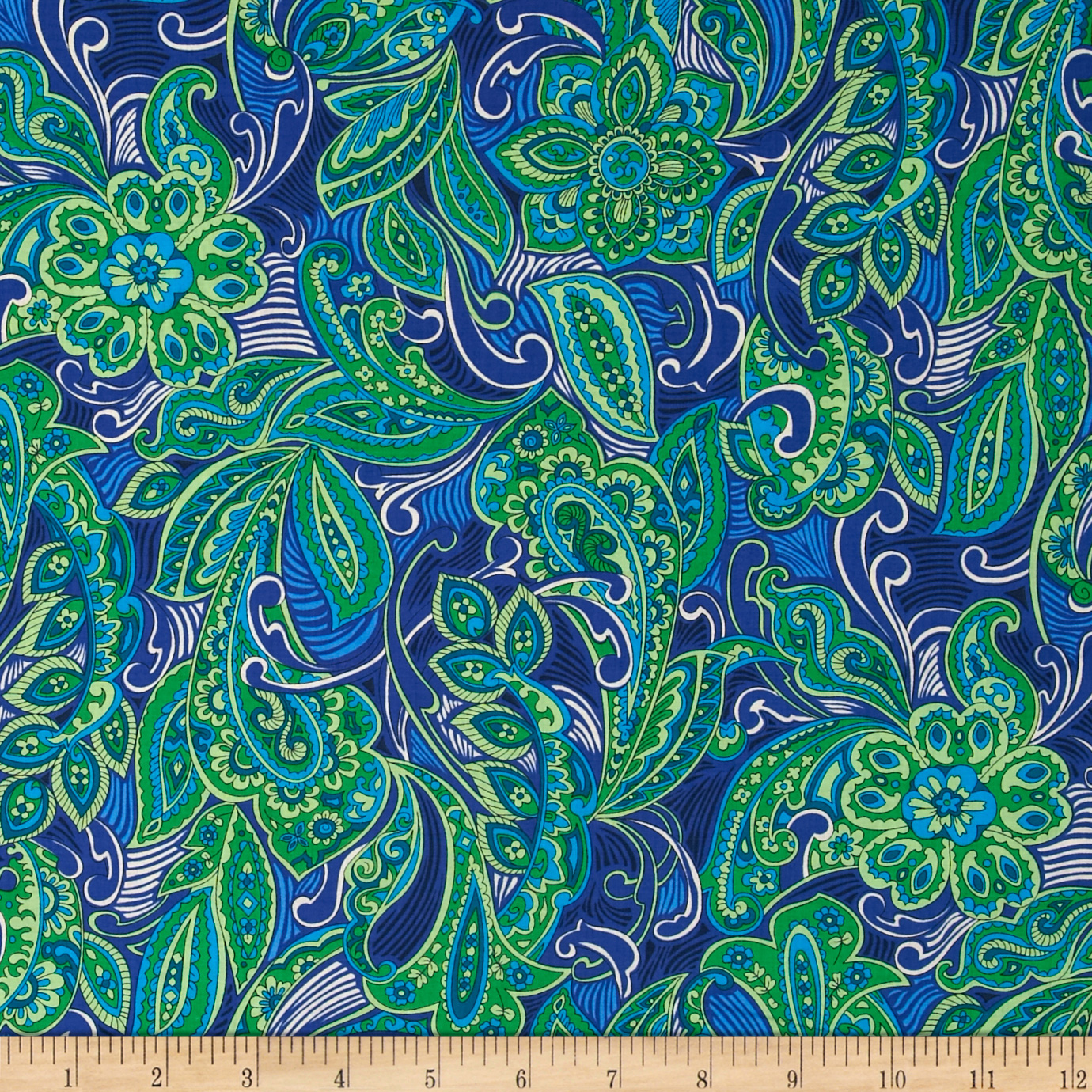 Kaufman London Calling Lawn Paisley Medallion Blue Fabric