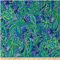 Kaufman London Calling Lawn Paisley Medallion Blue