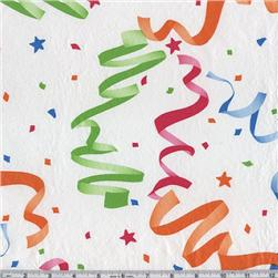 Flannel Backed Vinyl Party Time White Fabric