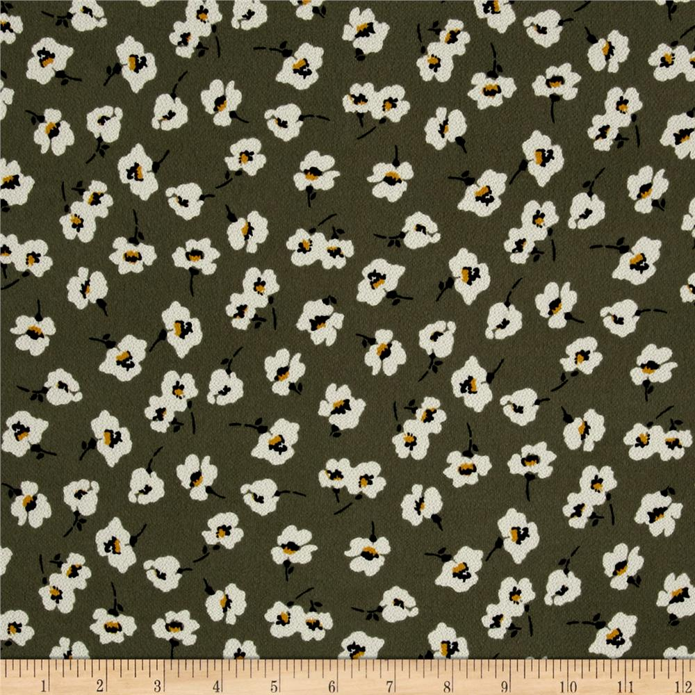 Bubble Crepe Tossed Floral Olive/Ivory