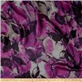 Charmeuse Satin Abstract Floral Purple