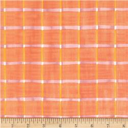 Pathways Squares Peach/Yellow Fabric
