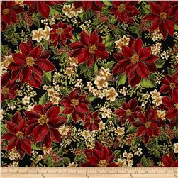 Robert Kaufman Holiday Flourish Metallic Poinsettias Black