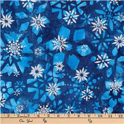 Kaufman Batiks Metallic Noel Geo Flower Midnight