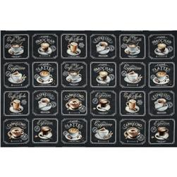 Metro Cafe Coffees Panel Charcoal Fabric
