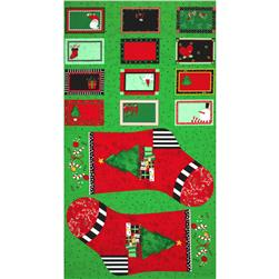 Happy Holly Days Stocking & Labels Panel Red
