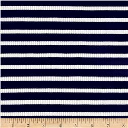 Rib Knit Stripe Navy/Ivory