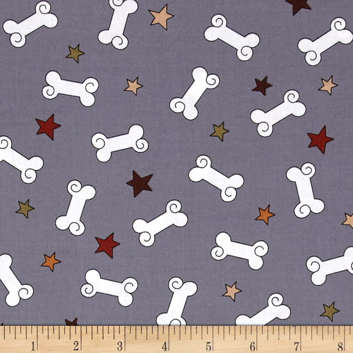 Kanvas Dog-Gonnit! Bad to the Bone Grey Fabric