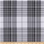 Yarn Dyed Polyester Suiting Plaid Black/White
