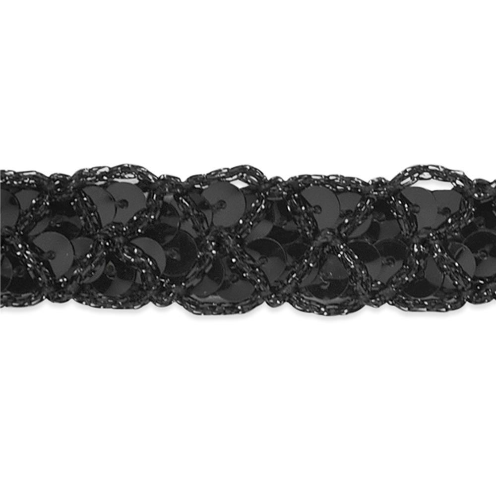 "3/4"" Christina Braided Sequin Trim Roll Black"
