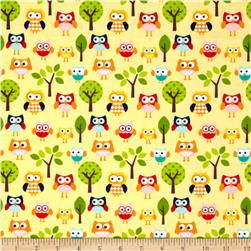Riley Blake Lazy Day Flannel Lazy Owls Yellow