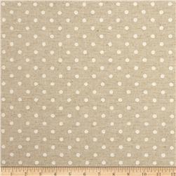 Kaufman Sevenberry Canvas Natural Dots Small White