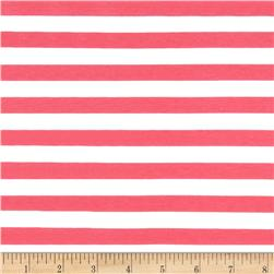 "Riley Blake Jersey Knit 1/2"" Stripes Hot Pink"