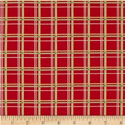 Holiday Magic Metallic Plaid Red