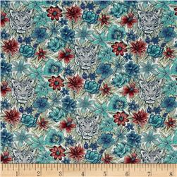 Liberty of London Scotty's Tiger Lawn Aqua/Blue/Coral