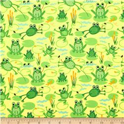 Timeless Treasures Organic Frogs Yellow