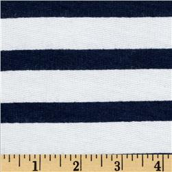 Designer Pique Knit Stripes Navy/White