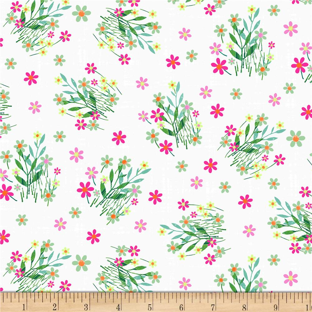 Blank Quilting Panda Park Stemmed Flowers White Discount