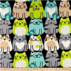Fleece Print Packed Cats Aqua/Lime