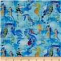 Under the Sea Digitally Printed Seahorses Blue