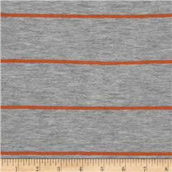 Designer Yarn Dyed Stripe Jersey Knit Grey/Rust