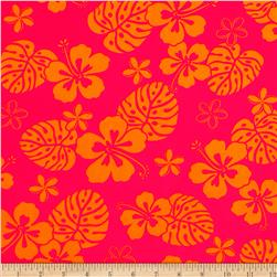 Paradise Pareaus 2 Tropical Flowers Hot Pink Fabric