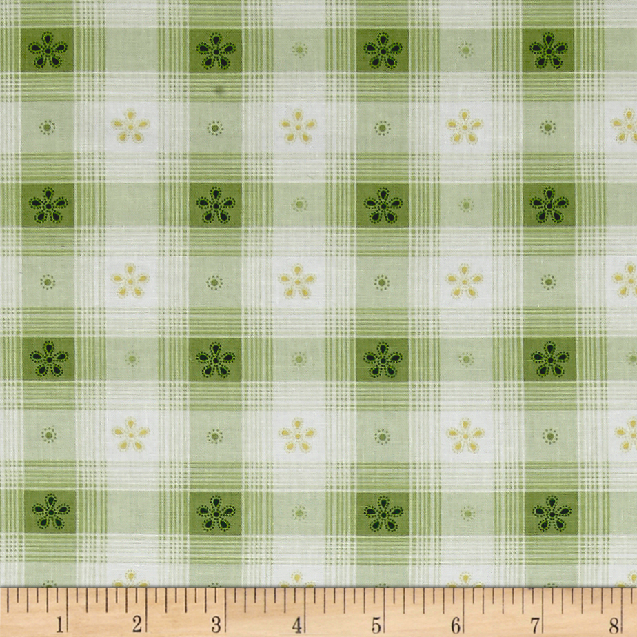 Simply Chic Toile Check Green Fabric