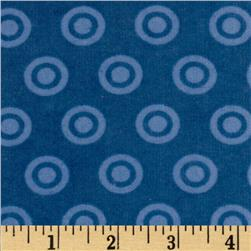 Alpine Flannel Basics Circle Dots Tonal Medium Blue