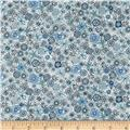 Kaufman London Calling Lawn Sketch Floral Blue